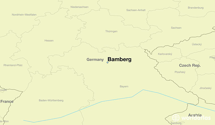 map showing the location of Bamberg