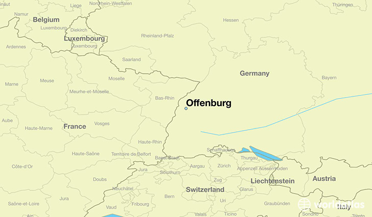 map showing the location of Offenburg