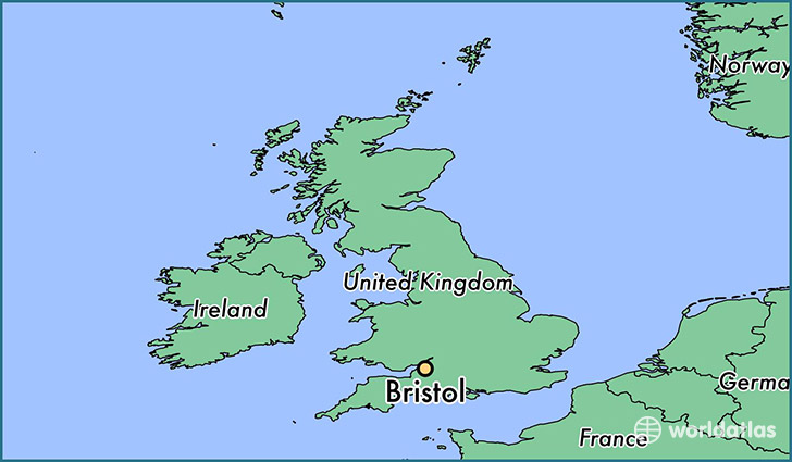 map showing the location of Bristol