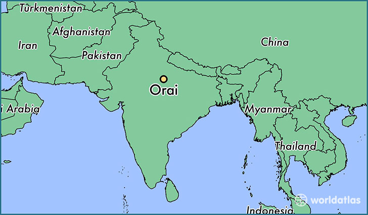 map showing the location of Orai