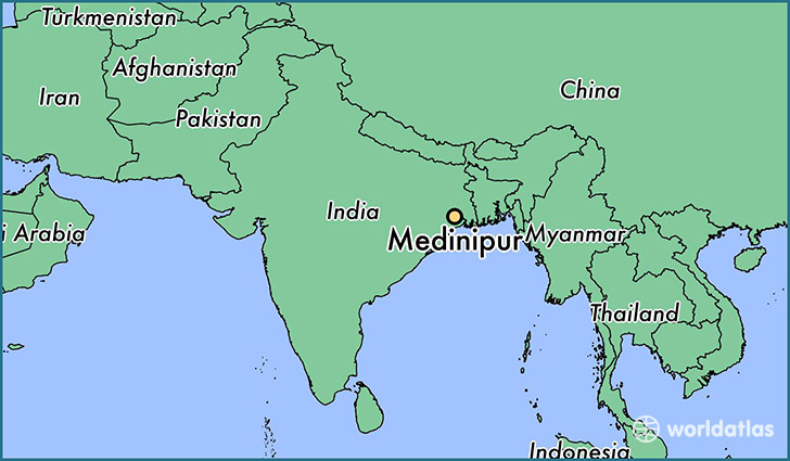 map showing the location of Medinipur