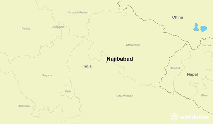 map showing the location of Najibabad