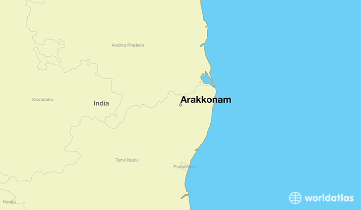 map showing the location of Arakkonam