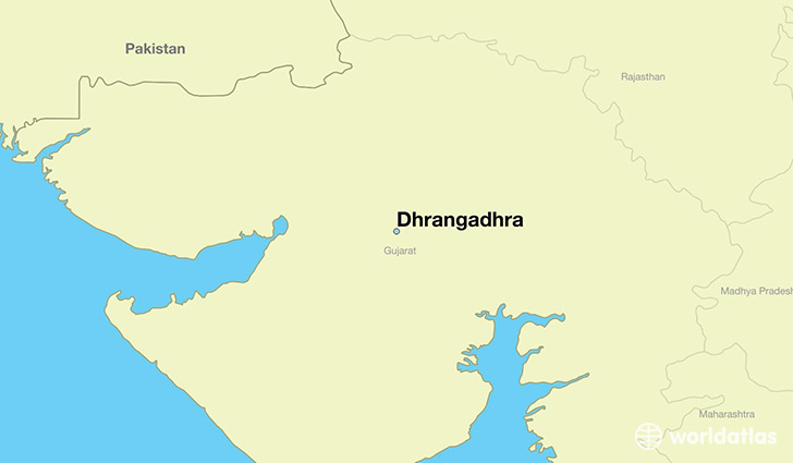 map showing the location of Dhrangadhra