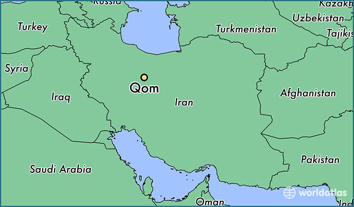 map showing the location of qom