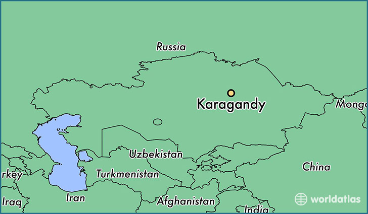 map showing the location of Karagandy