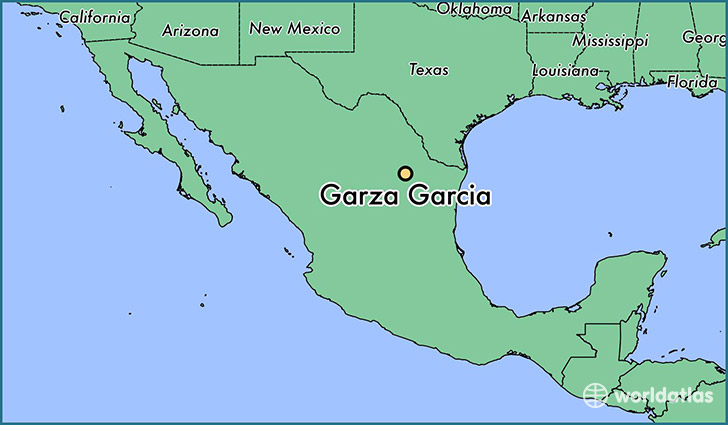 map showing the location of Garza Garcia
