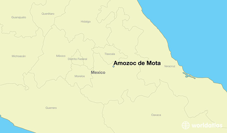 map showing the location of Amozoc de Mota