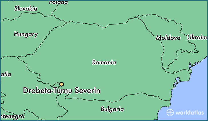 map showing the location of Drobeta-Turnu Severin