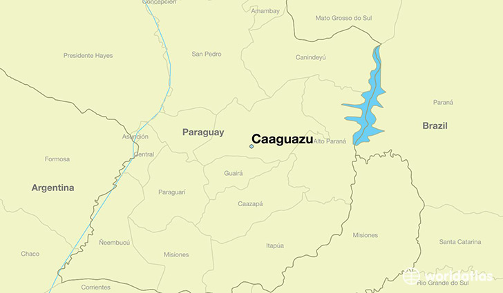 map showing the location of Caaguazu