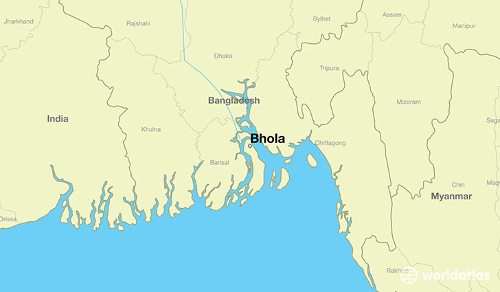 map showing the location of Bhola