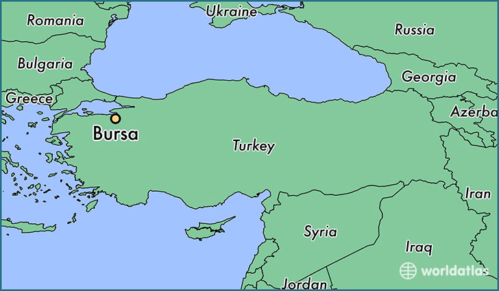 map showing the location of Bursa