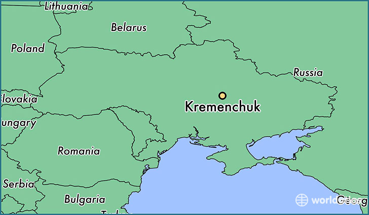 map showing the location of Kremenchuk