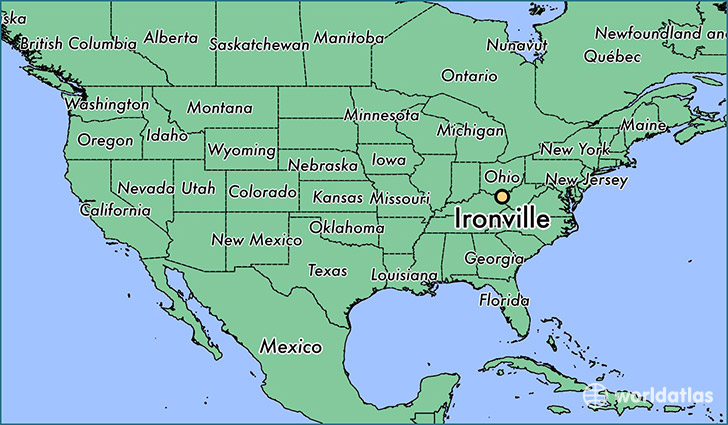 map showing the location of Ironville