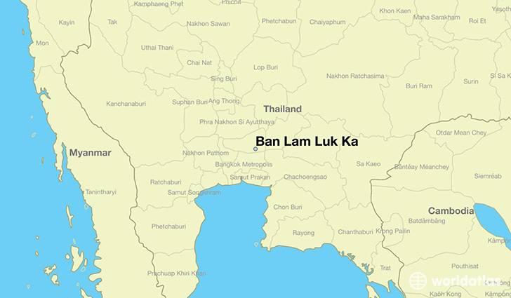 map showing the location of Ban Lam Luk Ka