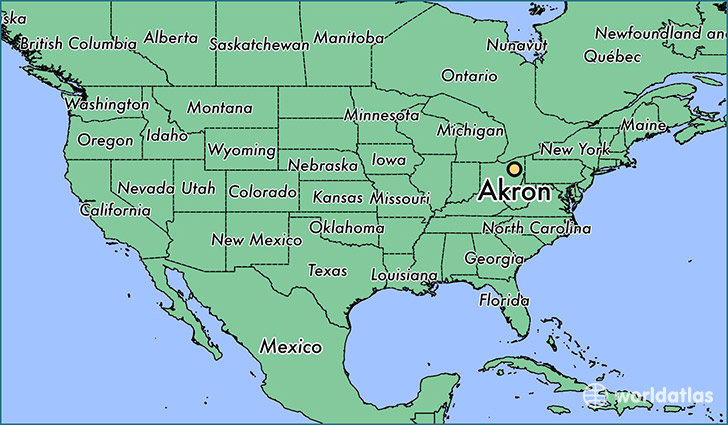 Akron Colorado Map.Where Is Akron Oh Akron Ohio Map Worldatlas Com