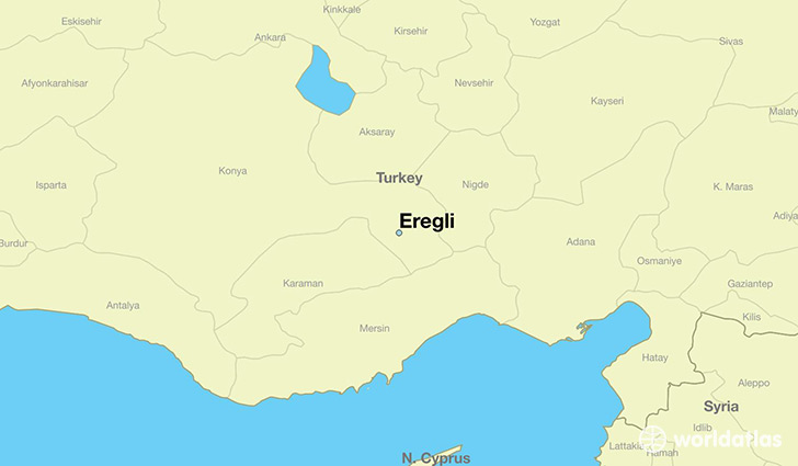 map showing the location of Eregli