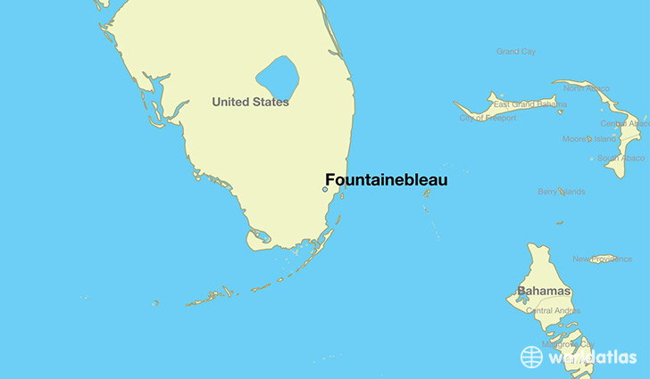 map showing the location of Fountainebleau