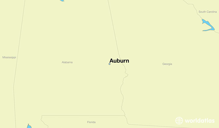 map showing the location of Auburn