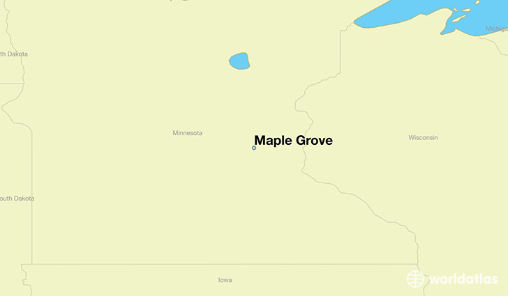 map showing the location of Maple Grove