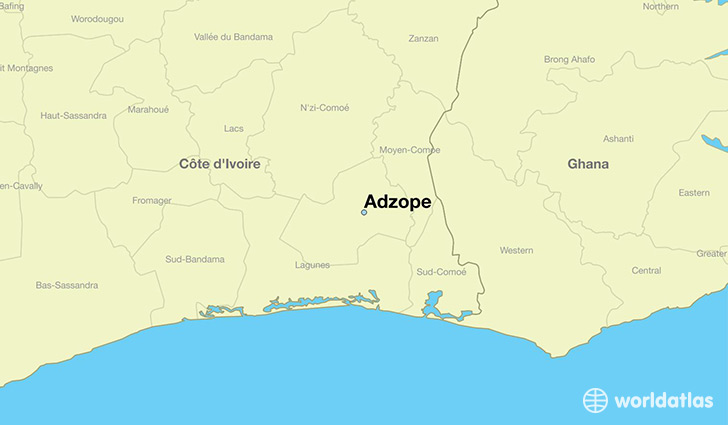 map showing the location of Adzope