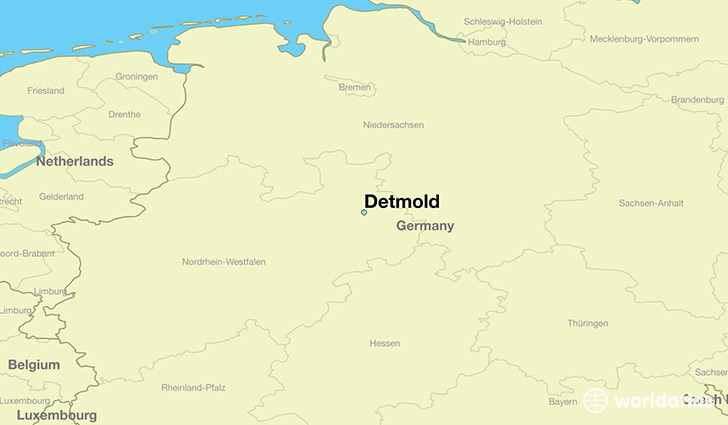 map showing the location of Detmold
