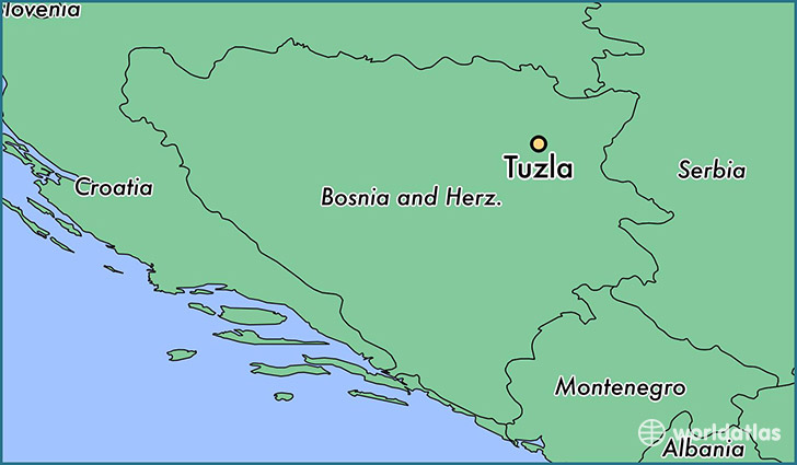 map showing the location of Tuzla
