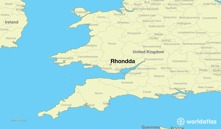 map showing the location of Rhondda
