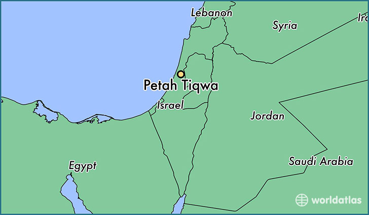 map showing the location of Petah Tiqwa