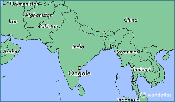 map showing the location of Ongole