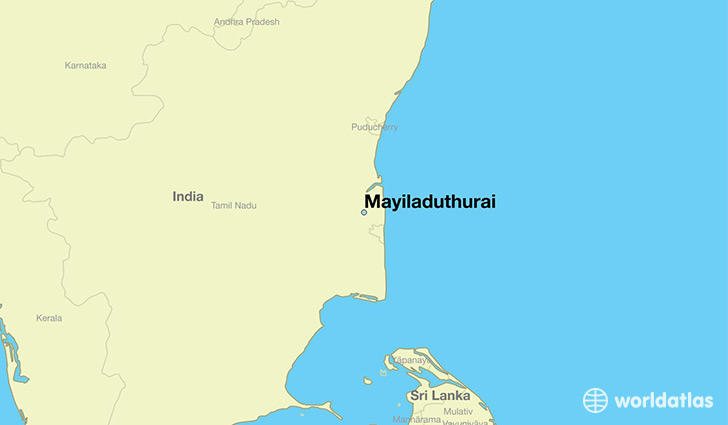 map showing the location of Mayiladuthurai