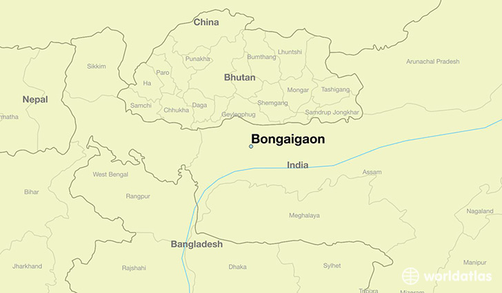 map showing the location of Bongaigaon