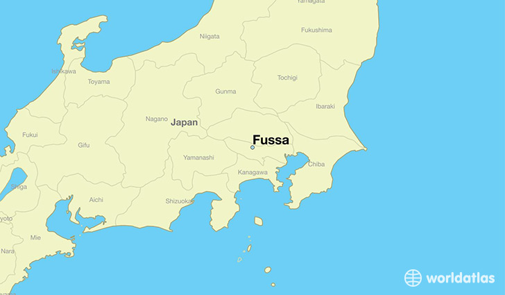 map showing the location of Fussa
