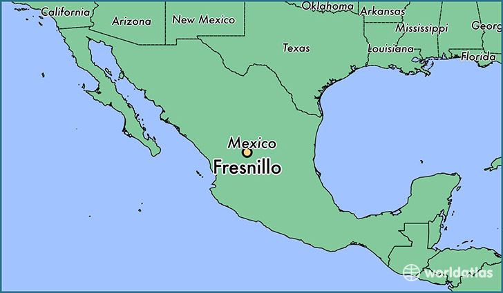 map showing the location of Fresnillo