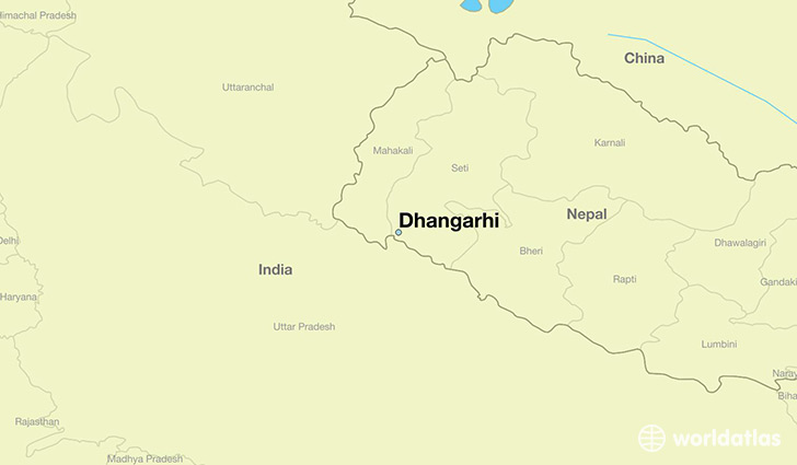 map showing the location of Dhangarhi