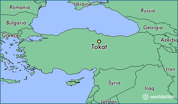 map showing the location of Tokat