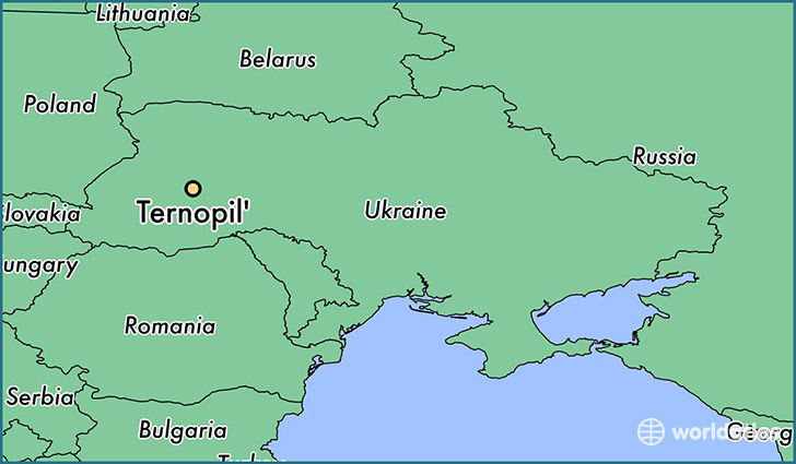 map showing the location of Ternopil'