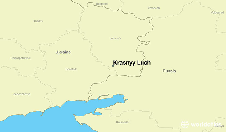 map showing the location of Krasnyy Luch