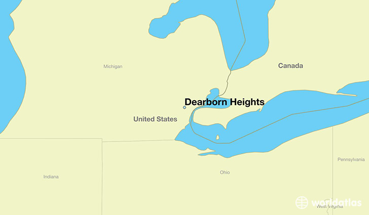 map showing the location of Dearborn Heights