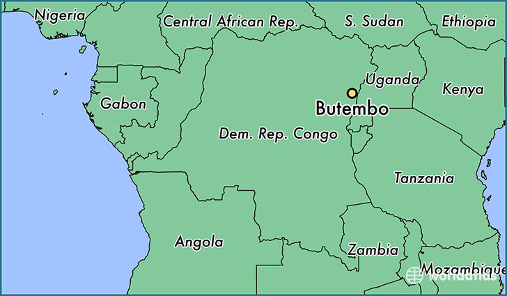 map showing the location of Butembo