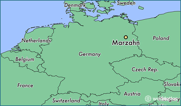map showing the location of Marzahn