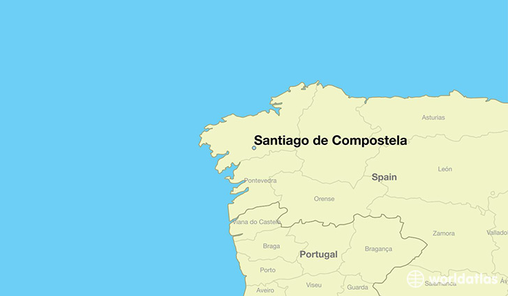 map showing the location of Santiago de Compostela