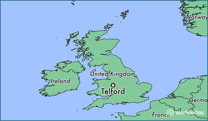 map showing the location of Telford