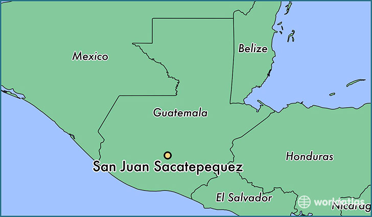 map showing the location of San Juan Sacatepequez