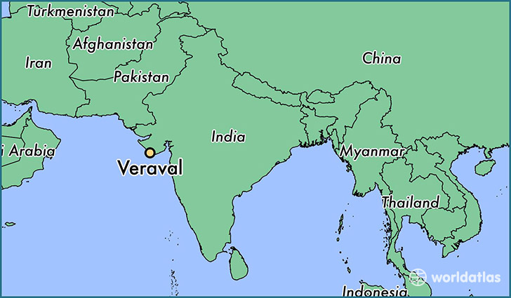 map showing the location of Veraval