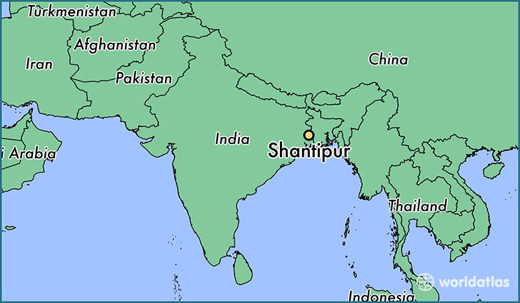 map showing the location of Shantipur