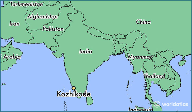map showing the location of Kozhikode