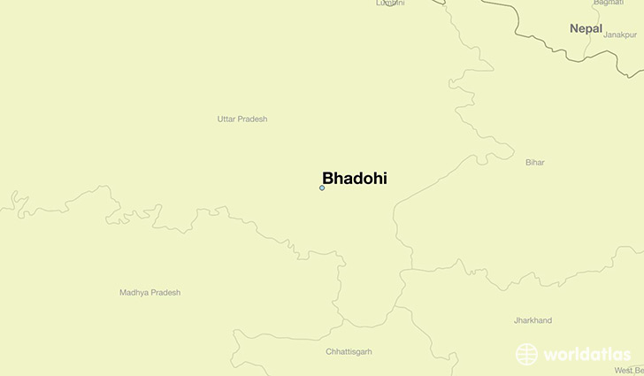 map showing the location of Bhadohi
