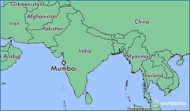 map showing the location of Mumbai