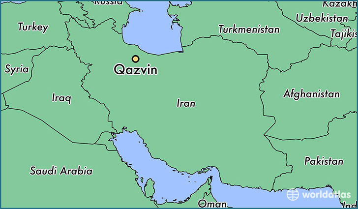 map showing the location of Qazvin